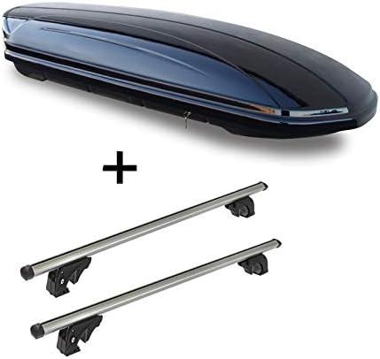 VDP Dachbox VDPMAA460 460Ltr schwarz glänzend abschließbar + Dachträger/Relingträger LION2 kompatibel mit FIAT Freemont (5 Türer) ab 11
