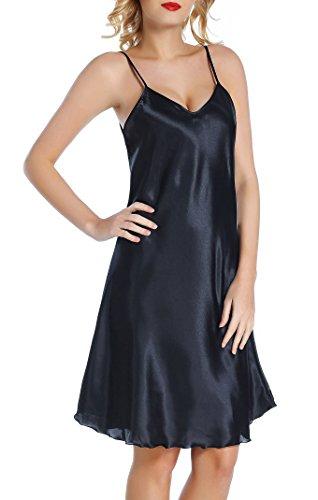 Chamllymers Women's Satin Sleepwear Slip Chemises Nightshirt Black M