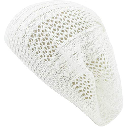 an Womens Off White Trendy Cable Knit Cutout Patterned Fashion Beanie Hat Cap (Crochet Cable Hat)