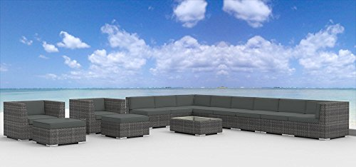 (Urban Furnishing - NEWPORT 14pc Modern Outdoor Wicker Patio Furniture Modular Sofa Sectional Set, Fully Assembled - Charcoal)