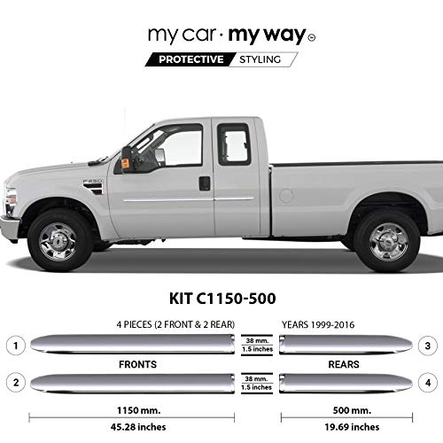 MY CAR MY WAY (Fits) Ford Superduty 1999-2016 8.2′ Box Supercab Chrome Body Side Molding Cover Trim Door Protector