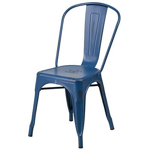 (Monowi Distressed Antique Blue Metal Indoor-Outdoor Stackable Chair | Model CCNTCHR - 12)