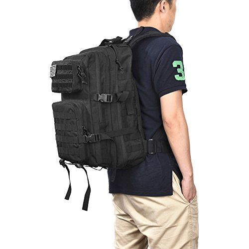 REEBOW GEAR Military Tactical Backpack Large Army 3 Day Assault Pack Molle Bug Out Bag Backpacks Rucksacks for Outdoor Hiking Camping Trekking Hunting Black
