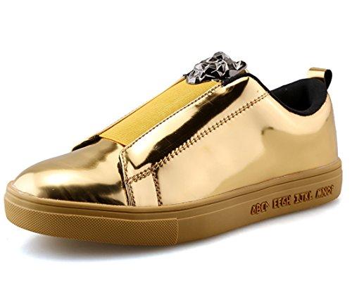 Vecjunia Mens Casual Scarpe Da Skateboard Sneakers Da Esterno Leggere In Oro