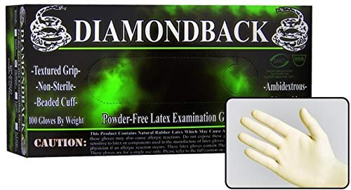 Diamond Back Heavy Duty Latex Exam Gloves, Textured Grip, Powder Free, 8 Mils Thick (1000, Medium)