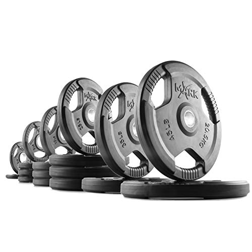 XMark TRI-Grip 325 lb Set Olympic Weights, Premium Rubber Coated Olympic Plates, One-Year Warranty