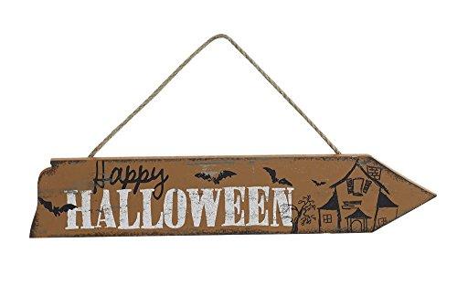 Happy Halloween 2.5 x 12 inch Wood Arrow Halloween Wall Sign Plaque Decoration (Halloween Catholic Story)