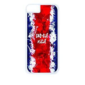 Costa Rican Flag- Case for the Apple Iphone 6 4.7-6 4.7s Universal-Hard White Plastic Outer Shell with Inner Soft Black Rubber Lining