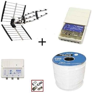 Antena UHF LTE + amplificador de mastil LTE 30 dB + alimentador 100 mA + 25 mtrs cable + conectores