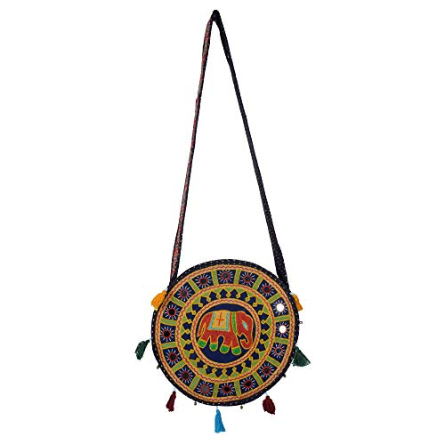 Tribes India Women's Cotton Bag Resham Embroidery Elephant Round 13 inch X 12 inch Green & Navy Blue ()