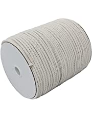 4mm Braided Cotton Macrame Cord, 4mm x 172yd, Beige Color, 100% Pure Natural Craft Cord, Thick Macrame Rope, Soft, Easy Knot, No Fraying End, Perfect Macrame Supplies for Wall Hangings, Plant Hangers