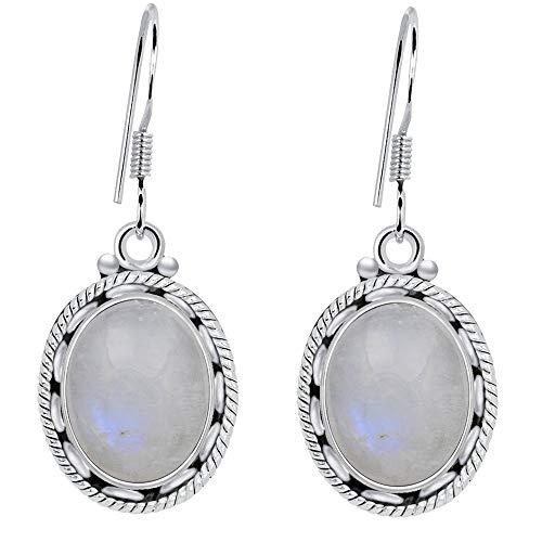 (MoonStone Earrings By Orchid Jewelry: Hypoallergenic Dangle Earrings For Sensitive Ears, Nickel Free Dangling Earrings, Sterling Silver Dangly Earrings Set, June Birthstone Earrings| (8 Ctw))
