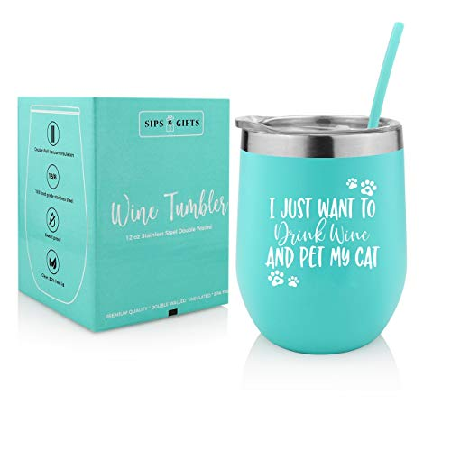 Gift for Cat Lovers| I Just Want to Drink Wine & Pet My Cat| 12 oz Stainless Steel Stemless Tumbler With Premium Lid & Straw| Birthday, Christmas Gifts for Cat Mom, Fur Mama, Grandma, Pet Lover, Women