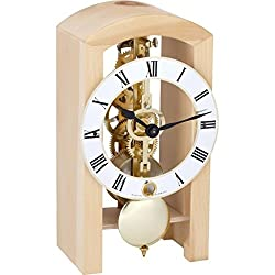 Qwirly Store: Patterson 14-Day Mechanical Table Clock by Hermle (Natural)
