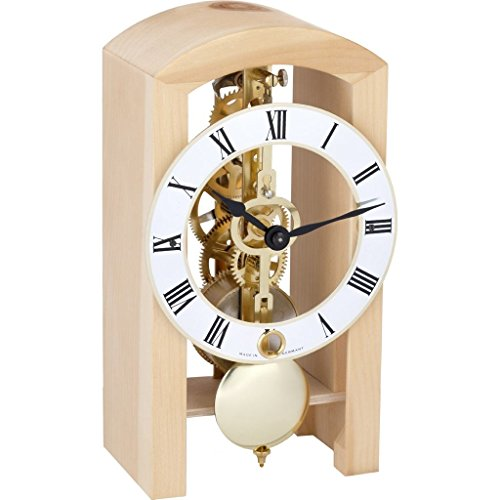 Qwirly Store: Patterson 14-Day Mechanical Table Clock by Hermle (Natural) Clock Rustic Oak Case