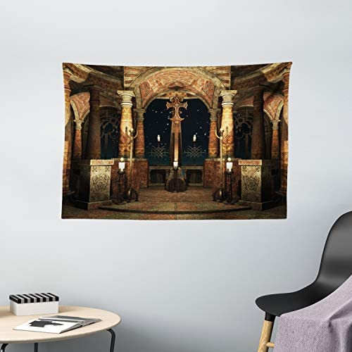 Ambesonne Gothic Tapestry, Dark Mystic Hall with Pillars and Dome Shrine Building Illustration, Wide Wall Hanging for Bedroom Living Room Dorm, 60 X 40 , Ivory Brown