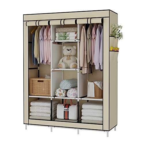 UDEAR Portable Wardrobe Closet Clothes Organizer No-Woven Fabric Cover with 6 Storage Shelves, 2 Hanging Sections and 4 Side Pockets,Beige