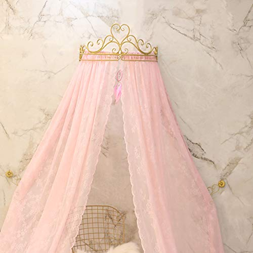 KID LOVE Princess Crown Mosquito Net,Pink Bed Canopy Dome Netting Curtains for Girls Kids Hot in Instagram-b