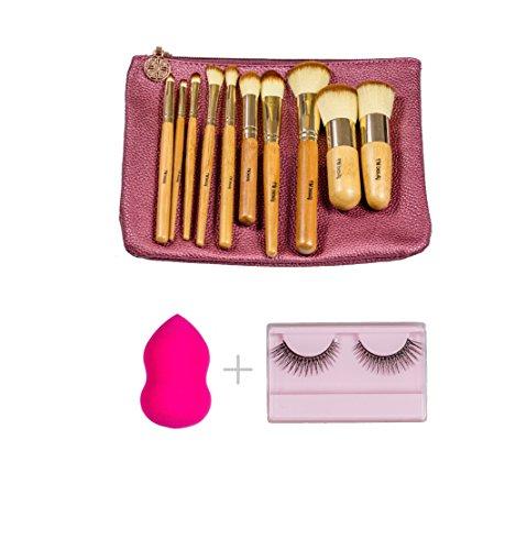 FM Beauty 10 Pcs Bamboo Makeup Brush Set Premium Synthetic Kabuki Foundation Blending Blush Eyeshadow Concealer Powder Brush Packed in Leather Bag + Beauty Blender + A Pair Of False ()