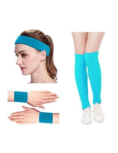 80s Workout Costume For Halloween (Kimberly's Knit Women 80s Neon Pink Running Headband Wristbands Leg Warmers Set (Free, LakeBlue))