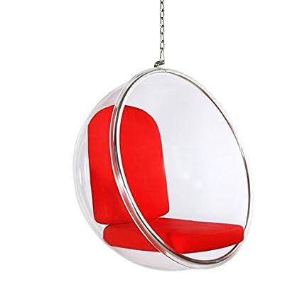 Poltrona Sospesa Bubble Chair.Ego Poltrona Sospesa Bubble Chair Cuscino Rosso Amazon It