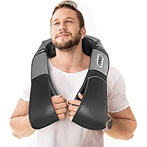 Shiatsu Back Shoulder and Neck Massager with Heat – Deep Tissue Kneading Back Massager for Neck, Shoulders, Foot, Legs – Electric Full Body Pillow Massage – Perfect Gift