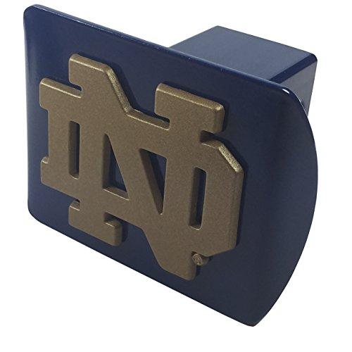- Notre Dame METAL Gold Emblem on Blue Hitch Cover