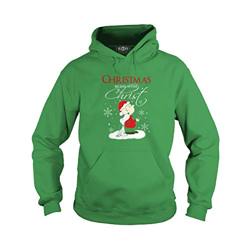 Unisex Christmas Begins with Christ Charlie Brown and Snoopy (XL, Green) ()