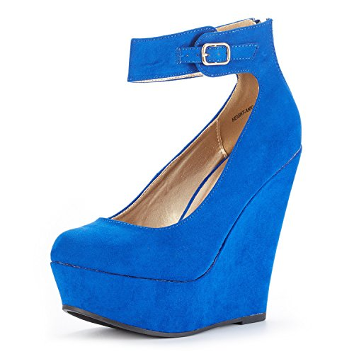 DREAM PAIRS Women's Height-Ankle Royal Blue Suede Elegant Ankle Strap Rear Zipper Closure Wedge Heel Platform Pumps Shoes Size 5.5 B(M) US