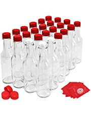 nicebottles Hot Sauce Bottles with Red Caps & Shrink Bands, 5 Oz - Case of 24