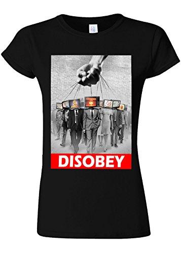 気候心理的に自分のためにDisobey TV Heads Slavery Novelty Black Women T Shirt Top-XL