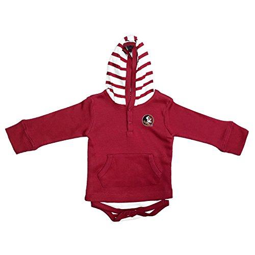 Florida State Onesie - Two Feet Ahead NCAA Florida State Seminoles Children Unisex Stripe Hooded Creeper,18Mo,Crimson