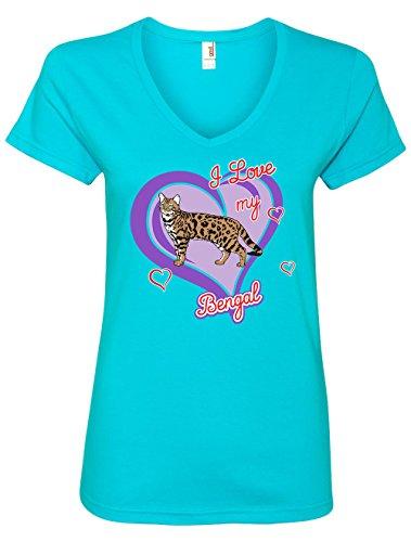 Tenacitee Women's Bengal Cat V Neck T-Shirt, X-Large, Caribbean Blue