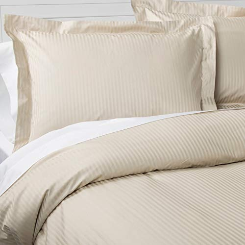 (500 Thread Count 100% Cotton Stripe Best Hotel Luxury Bedding 3-Piece Duvet Cover Set Zipper Closure-King (106