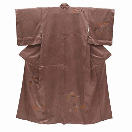 (着物ひととき) 訪問着 中古 リサイクル 正絹 仕立て上がり ほうもんぎ 植物文様 裄65cm 茶系 裄Mサイズ 身丈Mサイズ ll1837b【中古】
