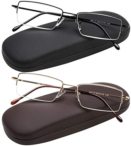 Reading Glasses Set of 2 Half Rim Ultra Lightweight Coordinating Cases Included and Durable Classic Readers for Men and Women +1.5