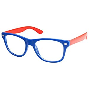Kids Nerd Retro Two Color Frame Clear Lens Childrens Fake Eye Glasses (Age 3-10) Blue/Red