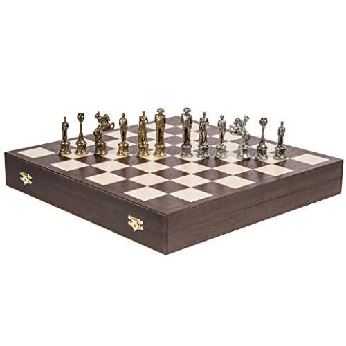 Echecs NAPOLÉON LUX - Pièces d'échecs en Métal & Échiquier - Wenge