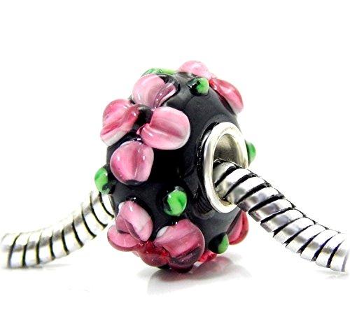 J&M Handmade 3D Pink Flower Garden Murano Glass Charm Bead for Charms Bracelets