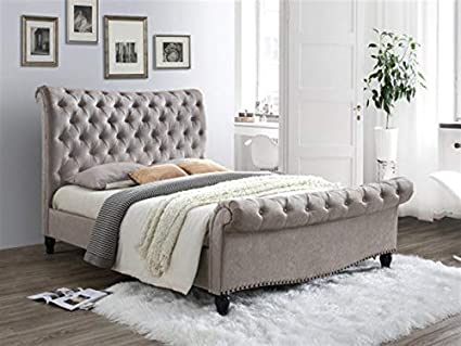 NEW Chenille Fabric Studded Bed Frame Grey Low Foot End 4ft6 Double