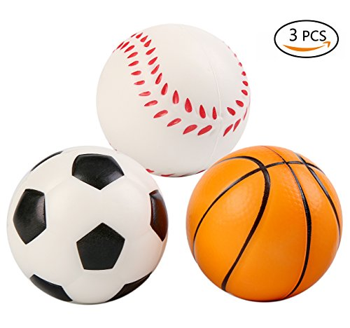 Vigeiya 3 Pack Squishies Balls 2.7 Inches Squishy Slow Rising Kawaii Soccer Basketball Baseball Prime Toys for Kids Adults Soft Scented Decorations Stress ()