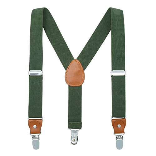 ults Suspenders - Extra Sturdy Polished Metal Clips(Amy green 24 inches (7 Months-3 Years) ()
