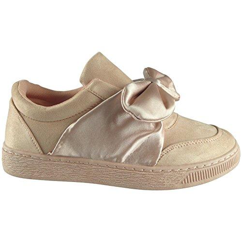 3 Regarder Formateurs Sur Taille Pompes Des Femmes Rose Slip Plates Miroitement Chaussures Fort Baskets Dames Nouvelles Arc 8 gpqZZwd