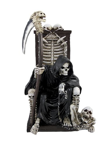 Grim Reaper on Throne with Undead Skeleton Pet Statue by Things2Die4 - Halloween Statues