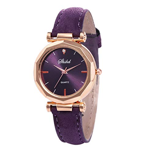 - Masun Fashion Women Leather Casual Watch Luxury Analog Quartz Crystal Wristwatch Diamond Cut Design Watch