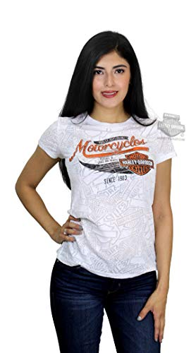- Harley-Davidson Womens Grace Beauty Winged B&S Burnout White Short Sleeve T-Shirt - XL