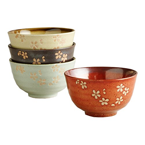 Blossom Rice Bowl - Fuji Asian Floral Blossom Rice Bowls - Set of 4