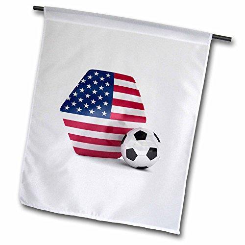 3dRose fl_181919_1 USA Soccer Ball Garden Flag, 12 by 18-Inch ()