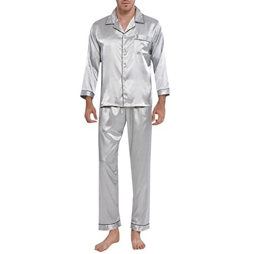 Cheap Fensajomon Mens Solid Color Stain Long Sleeve Homewear Sleepwear Pajamas 2 Pieces Set free shipping