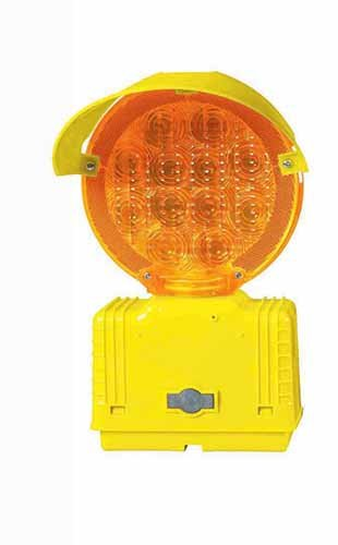 Cortina LED Barricade Light, Amber Bi-Directional Without Photocell, 3-Way Switch, 03-10-BLAYDC, Yellow Housing/Base with Hood
